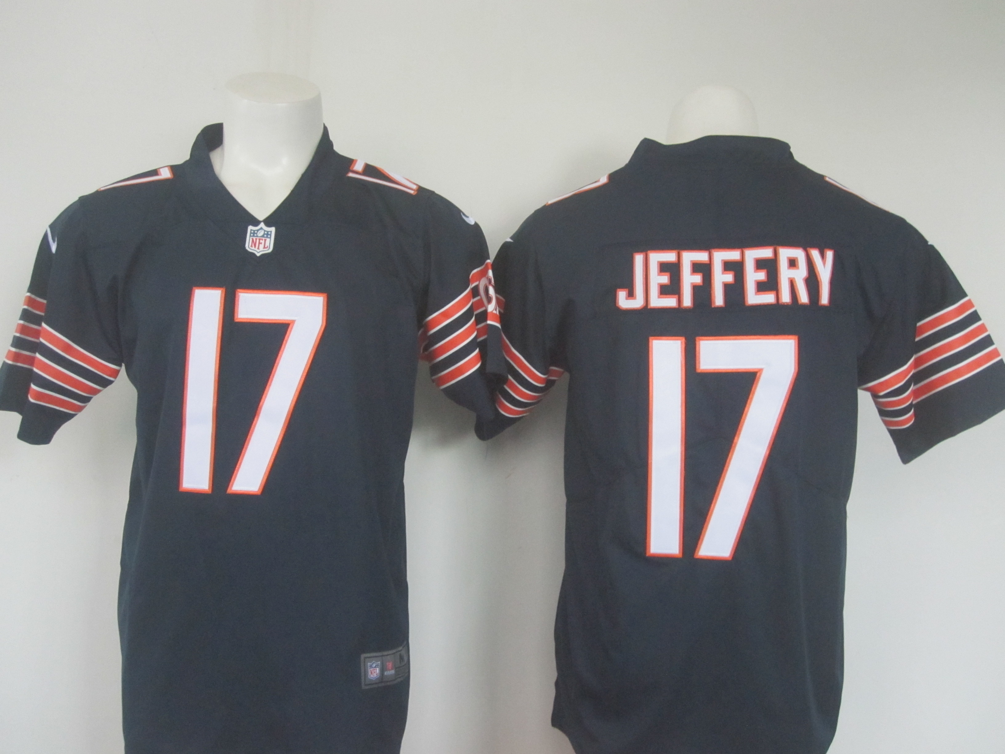 Men's Nike Bears #17 Alshon Jeffery Navy Limited Rush Stitched NFL Jersey