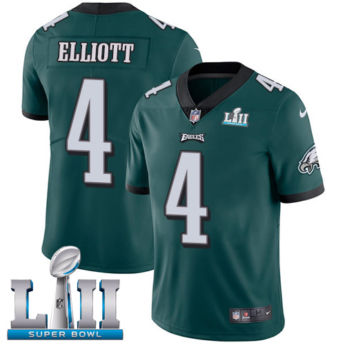 Men's Philadelphia Eagles #4 Jake Elliott Green Super Bowl LII Game Stitched NFL Jersey