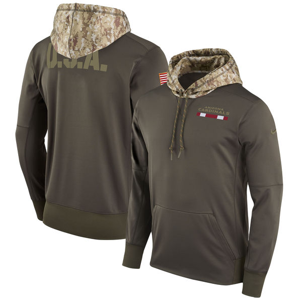 Men's Arizona Cardinals Nike Olive Salute to Service Sideline Therma Pullover Hoo