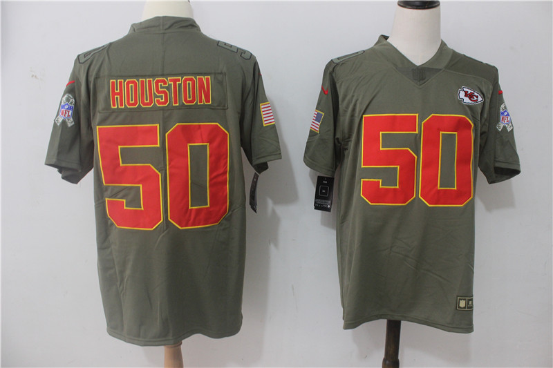Men's Nike Kansas City Chiefs #50 Justin Houston Olive Salute To Service Limited Stitched NFL Jersey