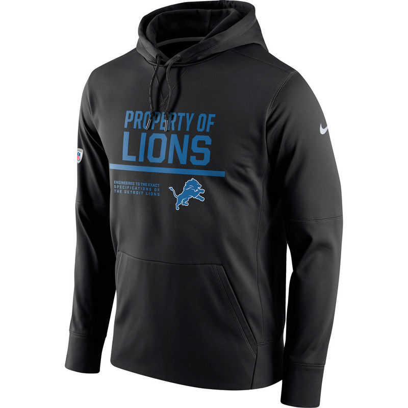 Men's Detroit Lions Nike Black Circuit Property Of Performance Pullover Hoodie