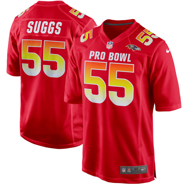 Men's AFC Terrell Suggs Red 2018 Pro Bowl Game Jersey