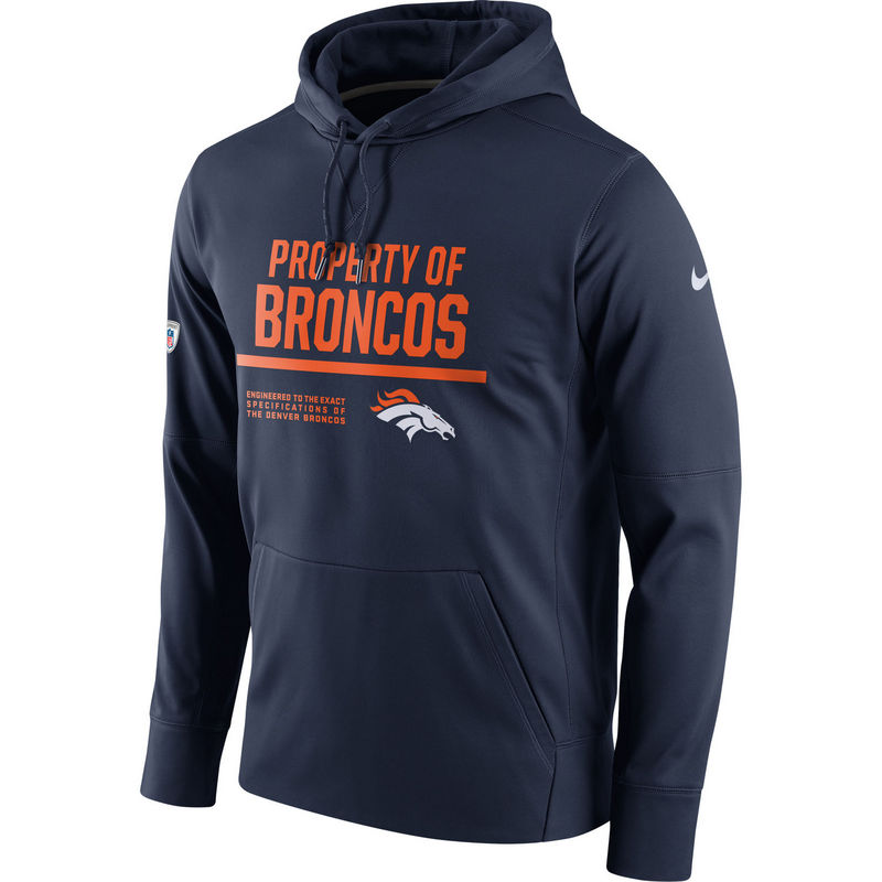 Men's Denver Broncos Nike Navy Circuit Property Of Performance Pullover Hoodie