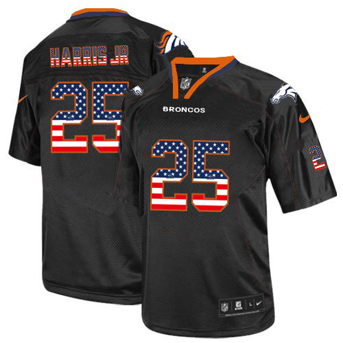 Men's Nike Broncos#25 Chris Harris Jr. Black USA Flag Fashion Elite Stitched Jersey
