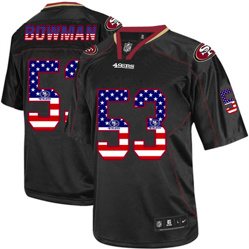 Men's Nike 49ers #53 NaVorro Bowman Black USA Flag Fashion Elite Stitched Jersey