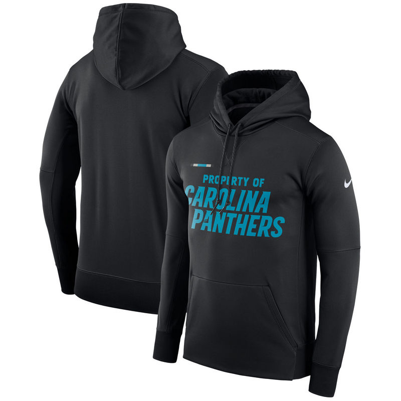 Men's Carolina Panthers Nike Black Sideline Property Of Performance Pullover Hoodie