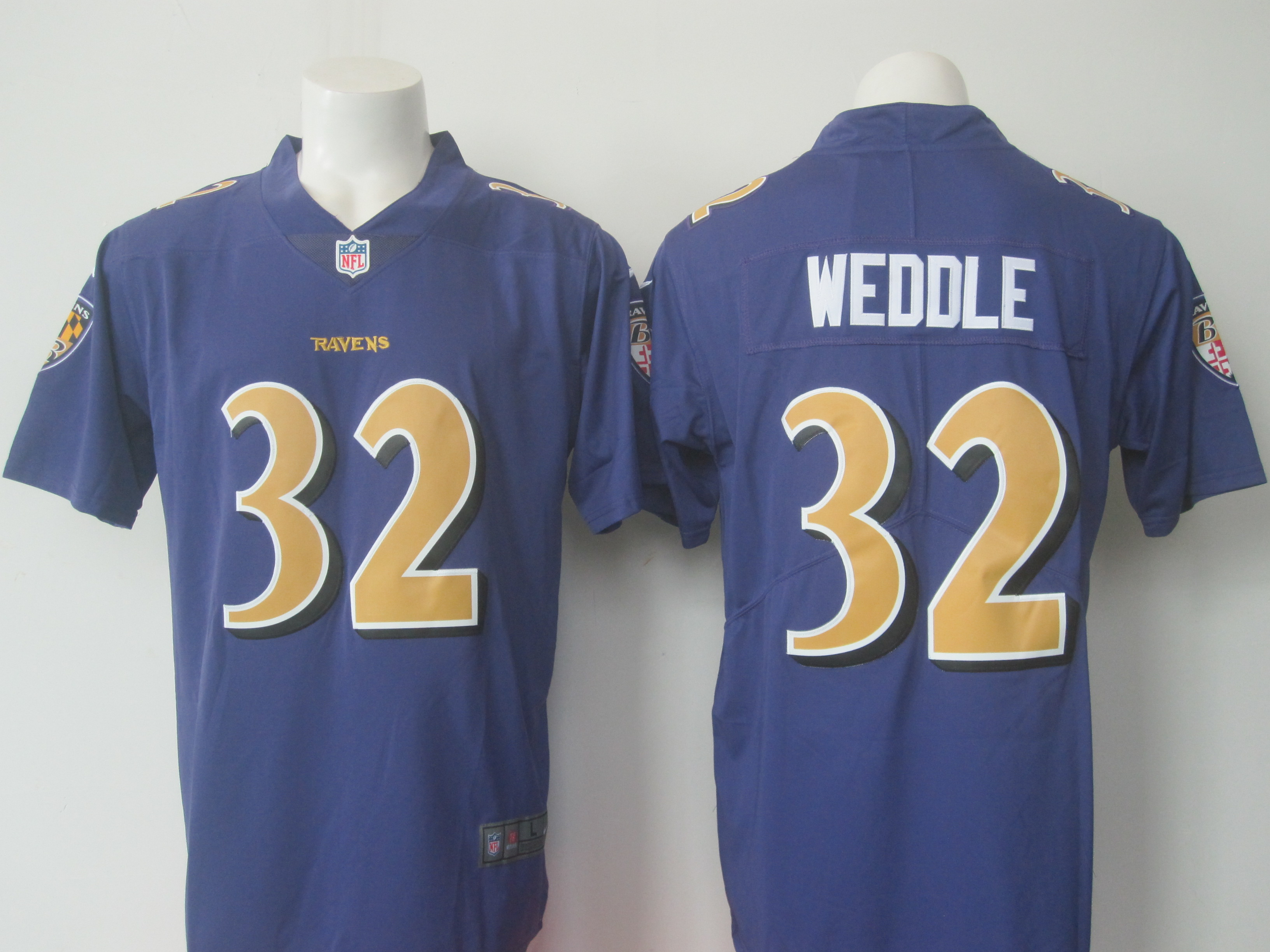 Men's Baltimore Ravens #32 Eric Weddle Purple Limited Rush Stitched NFL Jersey
