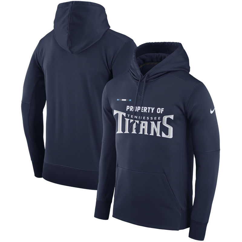 Men's Tennessee Titans Nike Navy Sideline Property Of Performance Pullover Hoodie