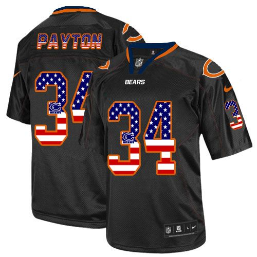 Men's Nike Bears#34 Walter Payton Black USA Flag Fashion Elite Stitched Jersey