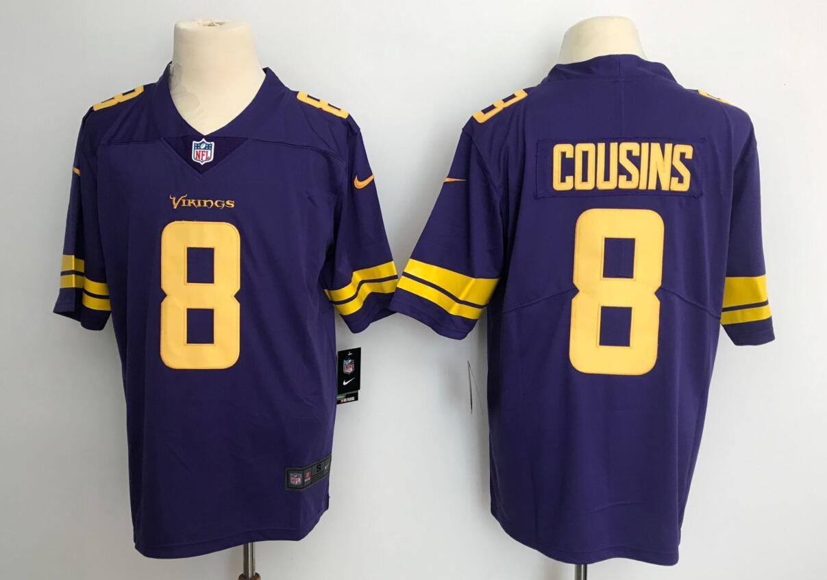 Men's Minnesota Vikings #8 Kirk Cousins Purple Limited Color Rush Stitched NFL Jersey