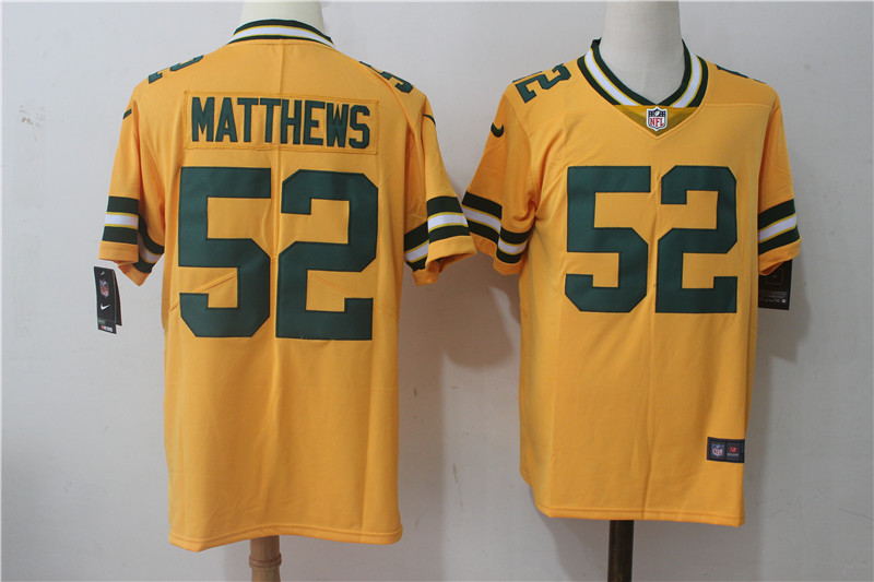 Men's Nike Green Bay Packers #52 Clay Matthews Yellow Stitched NFL Limited Rush Jersey