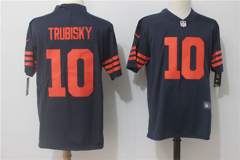 Men's Nike Chicago Bears #10 Mitchell Trubisky Navy Blue Alternate Stitched NFL Vapor Untouchable Limited Jersey