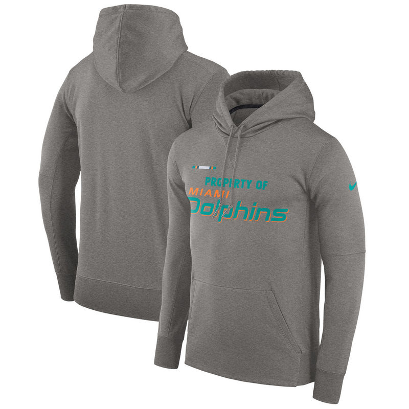 Men's Miami Dolphins Nike Heather Gray Sideline Property Of Performance Pullover Hoodie