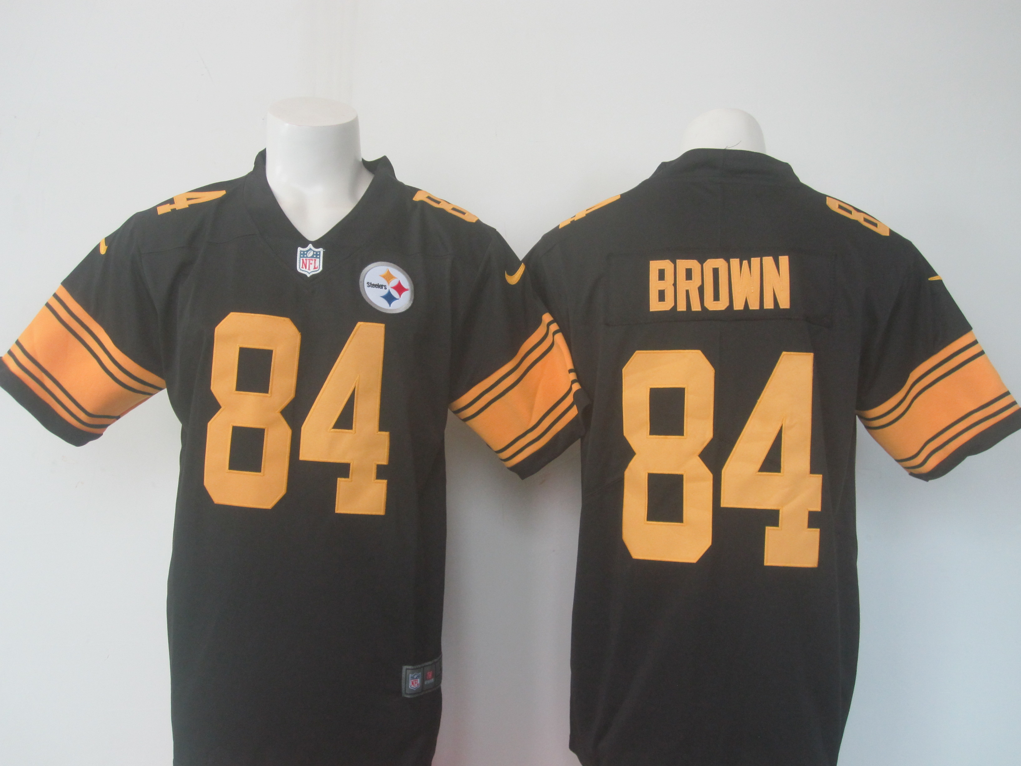 Men's Nike Steelers #84 Antonio Brown Black Limited Rush Stitched NFL Jersey