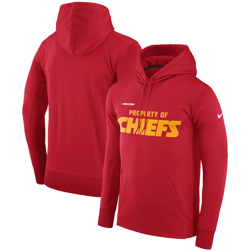 Men's Kansas City Chiefs Nike Red Sideline Property Of Performance Pullover Hoodie