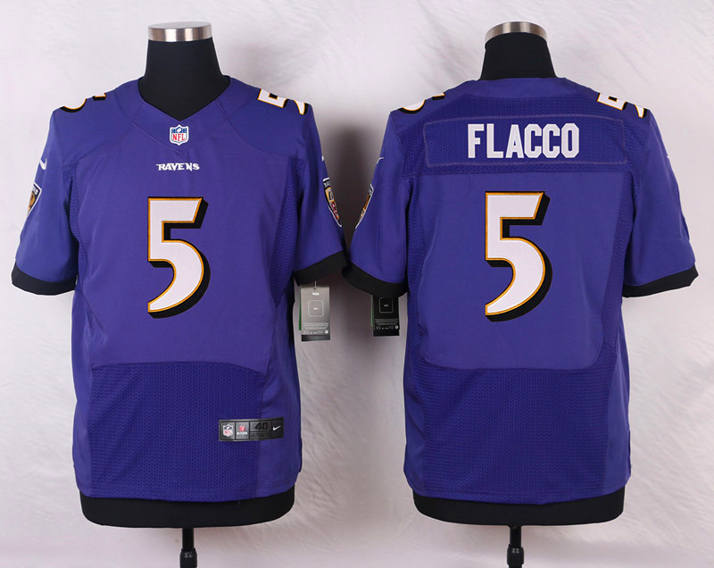 Nike Ravens #5 Joe Flacco Purple Team Color Men's Stitched NFL New Elite Jersey