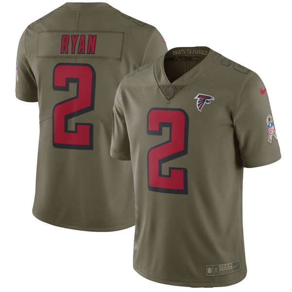 Men's Nike Atlanta Falcons #2 Matt Ryan Olive Salute To Service Limited Stitched NFL Jersey