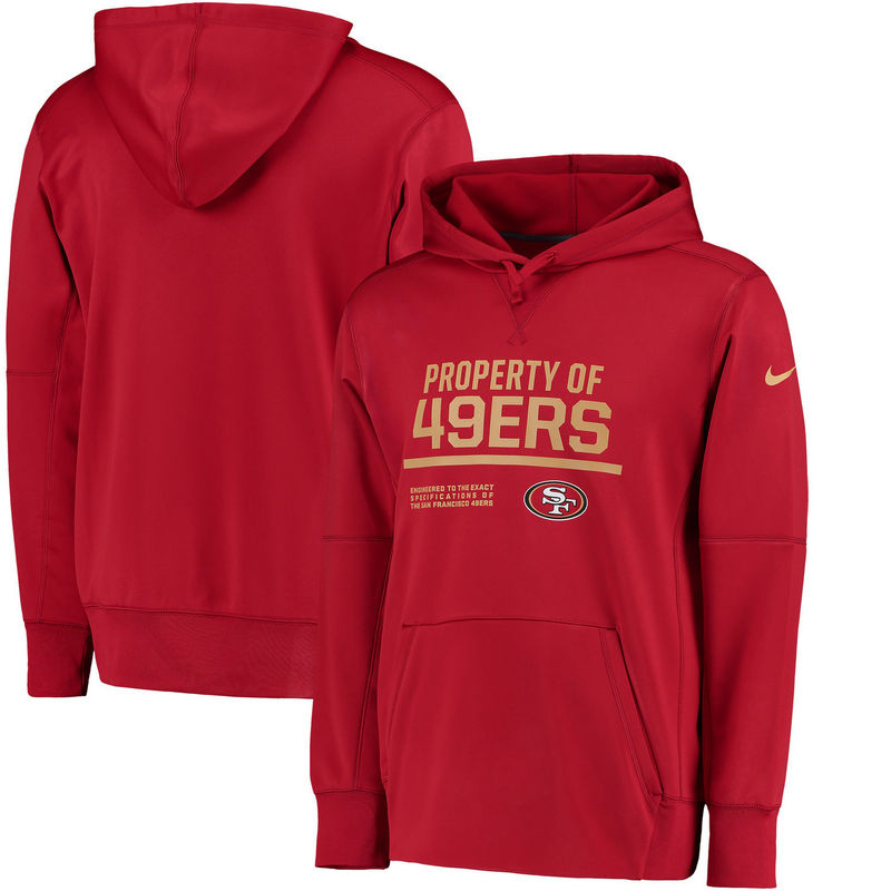 Men's San Francisco 49ers Nike Scarlet Circuit Property Of Performance Pullover Hoodie