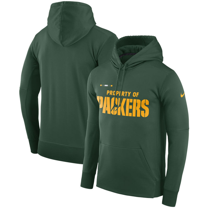 Men's Green Bay Packers Nike Green Sideline Property Of Performance Pullover Hoodie