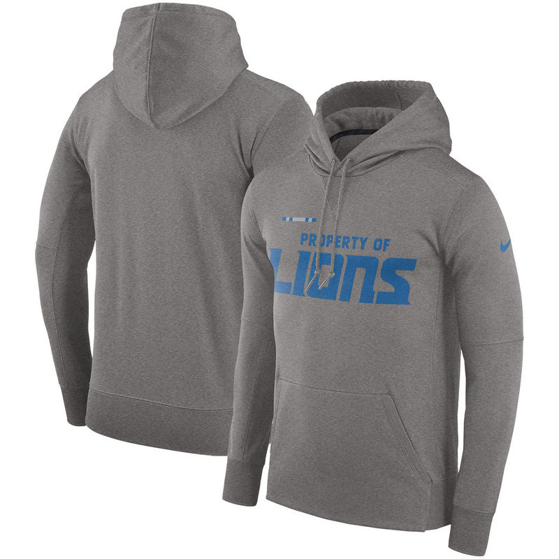Men's Detroit Lions Nike Heather Gray Sideline Property Of Performance Pullover Hoodie