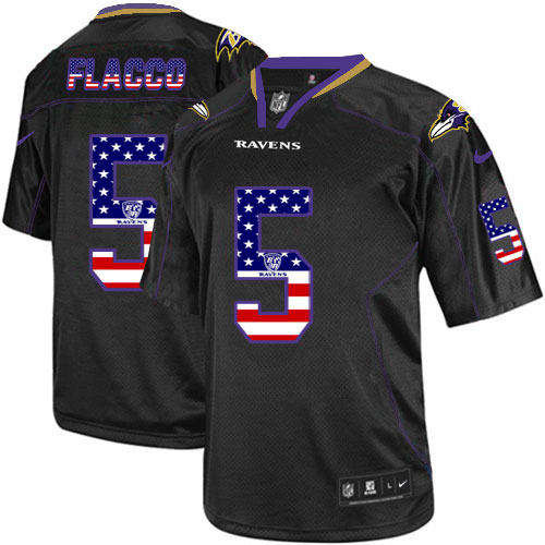 Men's Nike Ravens # 5 Joe Flacco Black USA Flag Fashion Elite Stitched Jersey