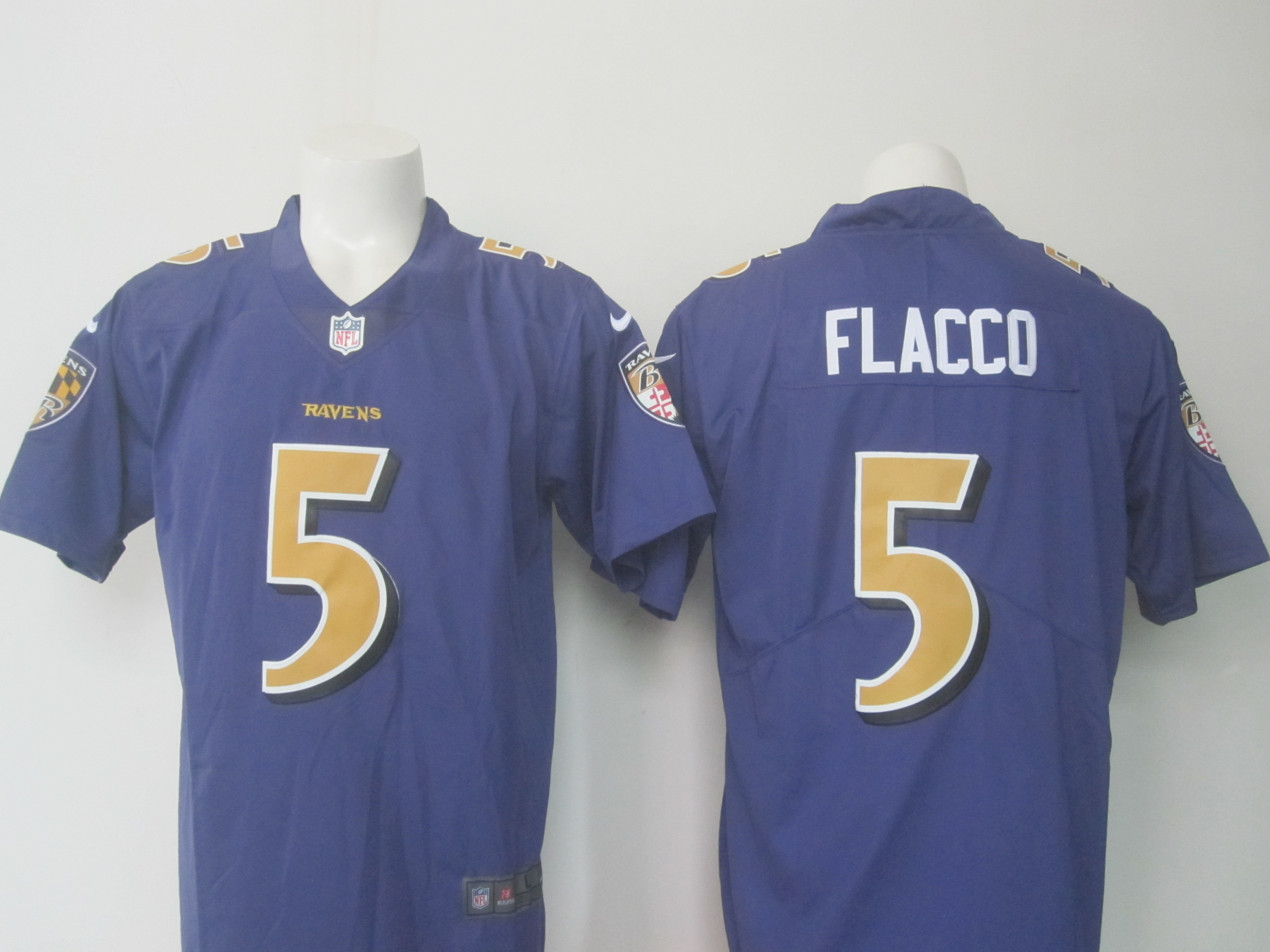 Men's Nike Ravens #5 Joe Flacco Purple Limited Rush Stitched NFL Jersey