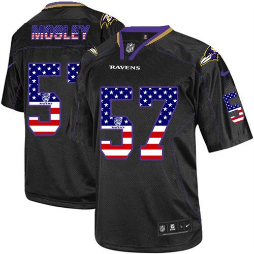 Men's Nike Ravens #57 C.J. Mosley Black USA Flag Fashion Elite Stitched Jersey