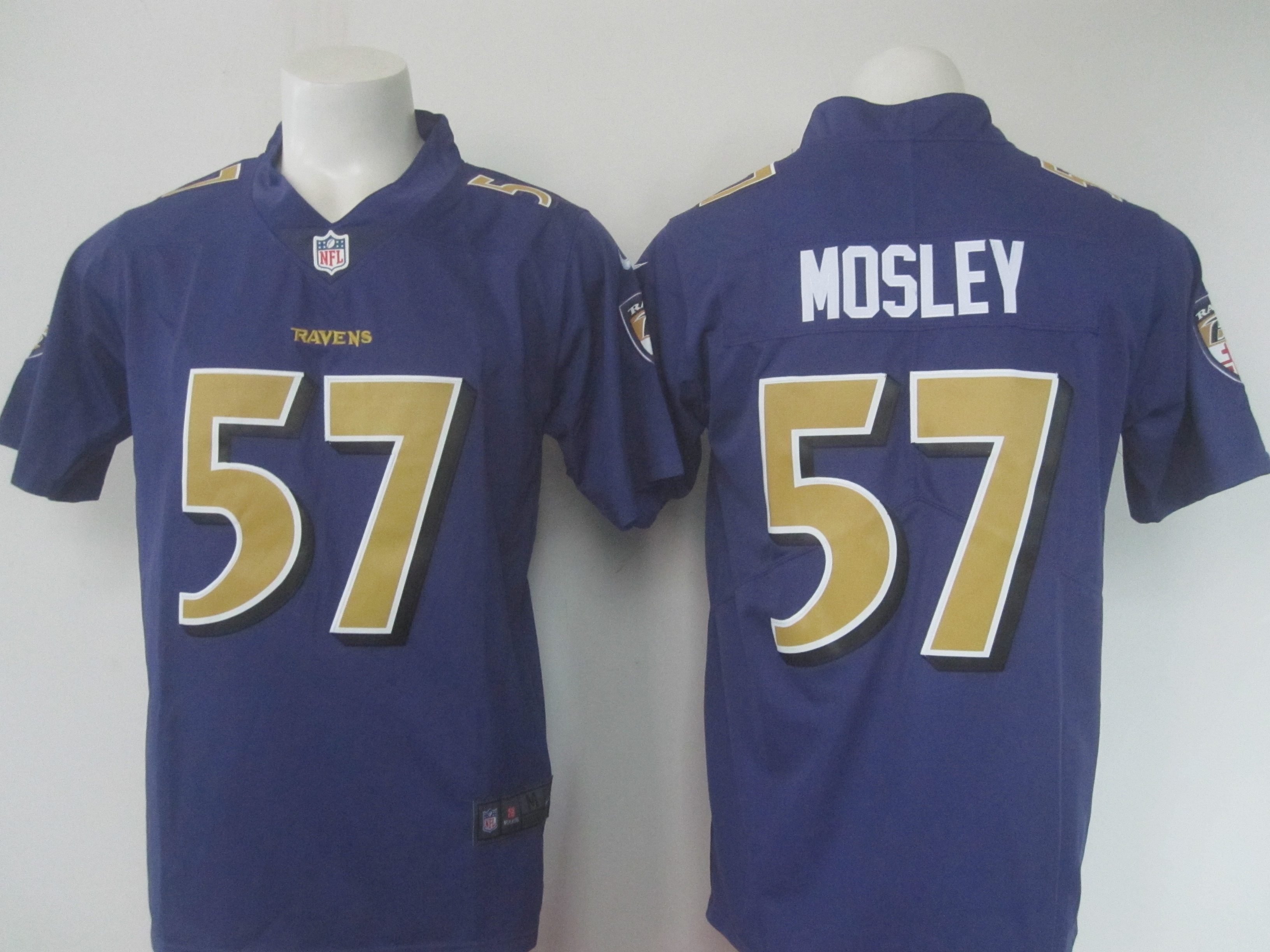 Men's Nike Ravens #57 C.J. Mosley Purple Limited Rush Stitched NFL Jersey
