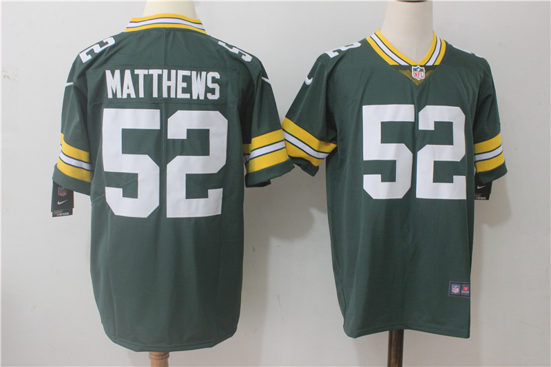 Men's Nike Green Bay Packers #52 Clay Matthews Green Team Color Stitched NFL Vapor Untouchable Limited Jersey