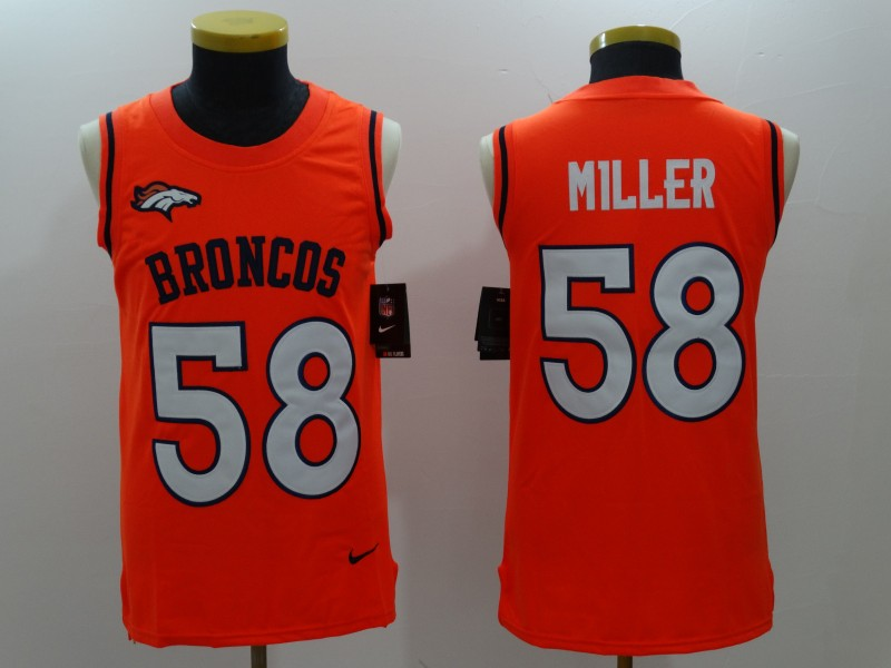 Men's Nike Denver Broncos #58 Von Miller Orange Team Color Stitched NFL Limited Tank Top Jersey