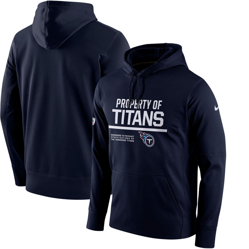 Men's Tennessee Titans Nike Navy Circuit Property Of Performance Pullover Hoodie