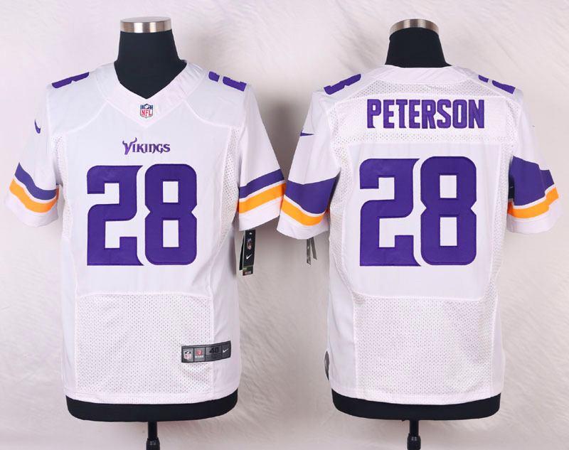 Nike Vikings #28 Adrian Peterson White Team Color Men's Stitched NFL Elite Jersey