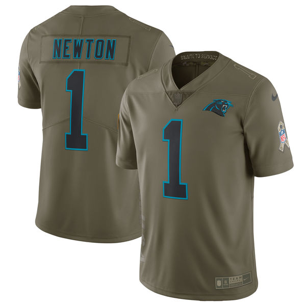 Men's Nike Carolina Panthers #1 Cam Newton Olive Salute To Service Limited Stitched NFL Jersey