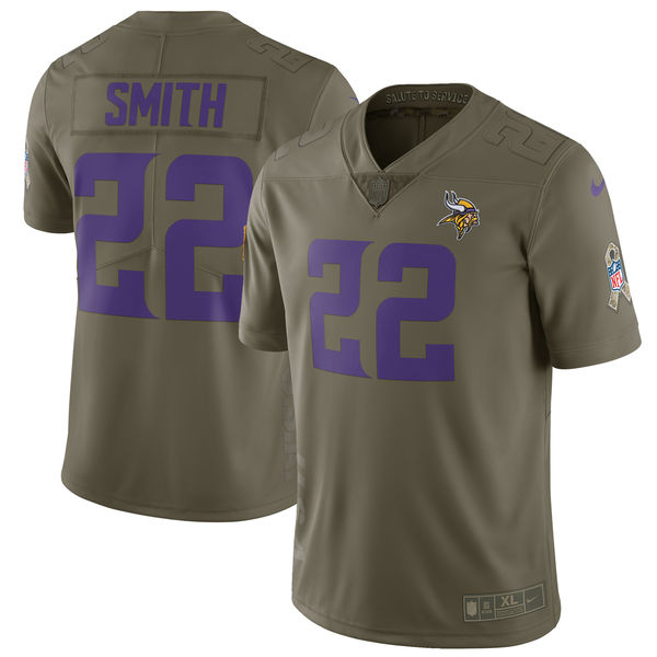 Men's Nike Minnesota Vikings #22 Harrison Smith Olive Salute To Service Limited Stitched NFL Jersey
