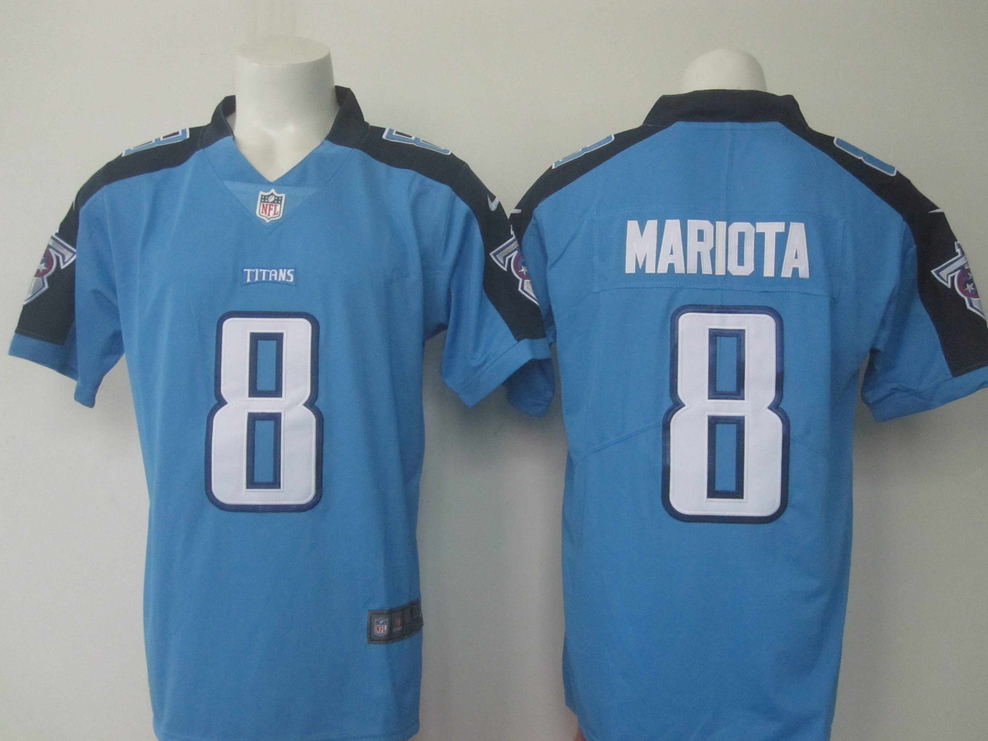 Men's Nike Titans #8 Marcus Mariota Light Blue Limited Rush Stitched NFL Jersey
