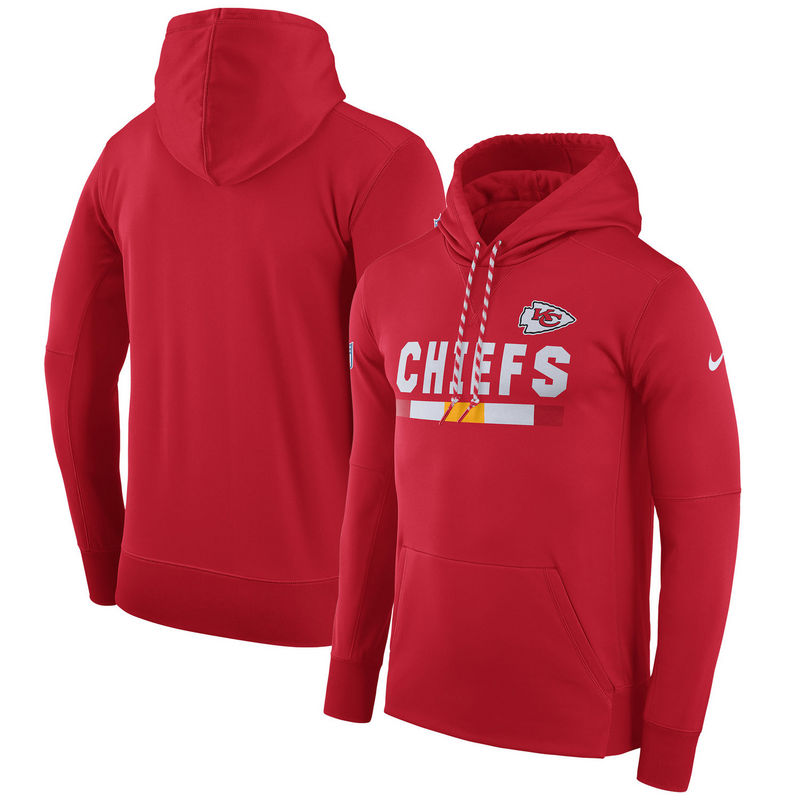 Men's Kansas City Chiefs Nike Red Sideline Team Name Performance Pullover Hoodie
