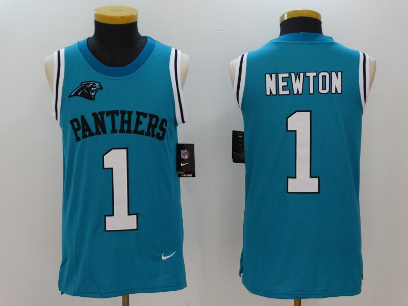 Men's Nike Carolina Panthers #1 Cam Newton Blue Alternate Stitched NFL Limited Rush Tank Top Jersey