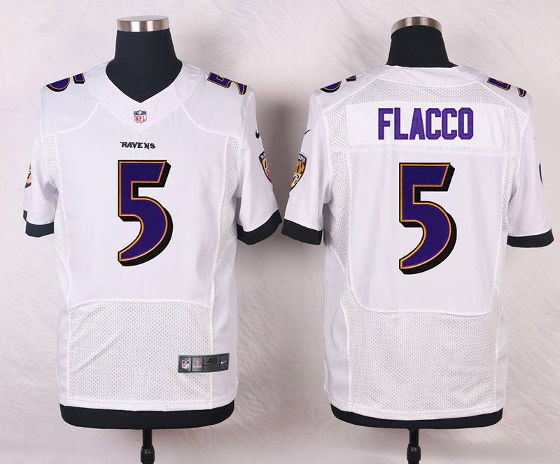 Nike Ravens #5 Joe Flacco White Men's Stitched NFL New Elite Jersey