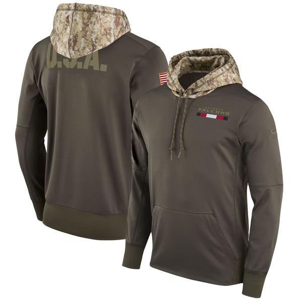 Men's Atlanta Falcons Nike Olive Salute to Service Sideline Therma Pullover Hoodie