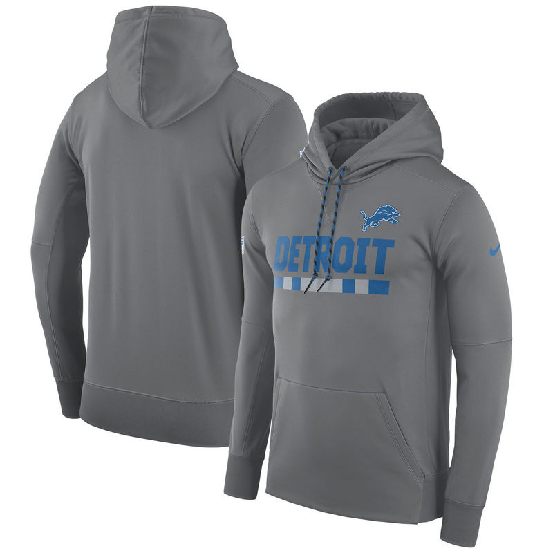 Men's Detroit Lions Nike Heathered Gray Sideline Team Name Performance Pullover Hoodie
