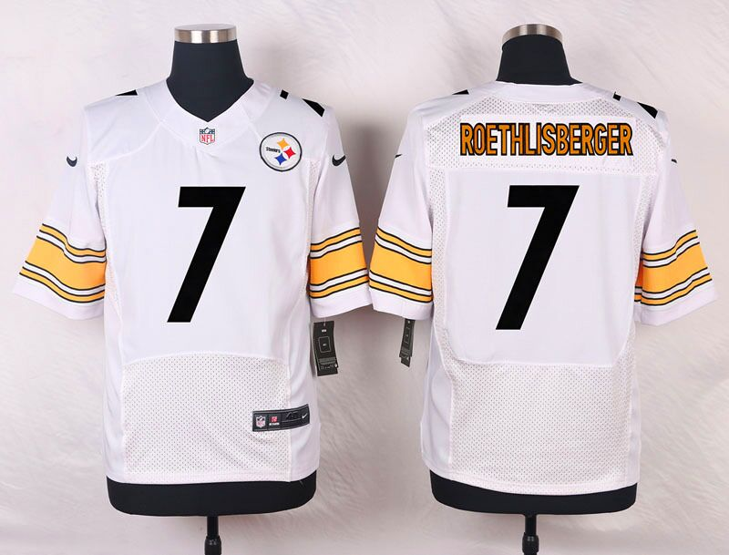 Men's Nike Pittsburgh Steelers #7 Ben Roethlisberger White Stitched NFL Elite Jersey