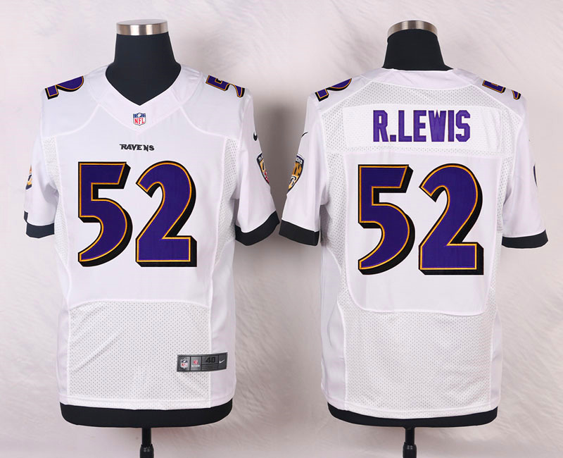 Nike Ravens #52 Ray Lewis White Men's Stitched NFL New Elite Jersey