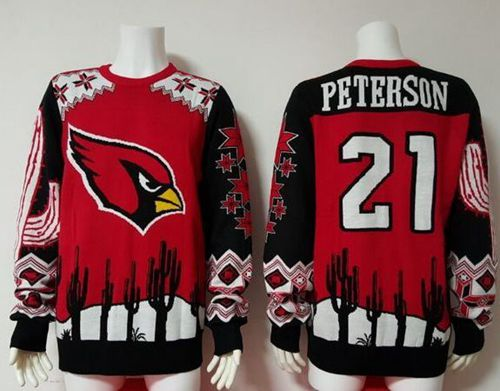 Nike Cardinals #21 Patrick Peterson Red/Black Men's Ugly Sweater