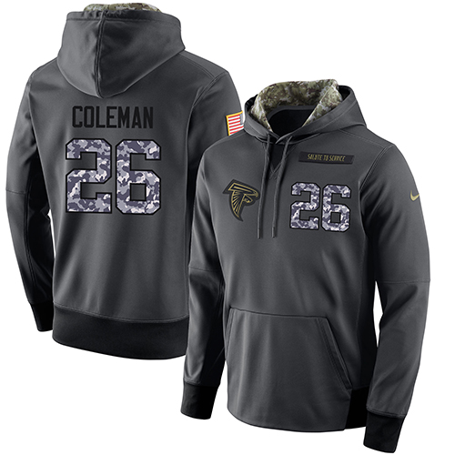 NFL Men's Nike Atlanta Falcons #26 Tevin Coleman Stitched Black Anthracite Salute to Service Player Performance Hoodie