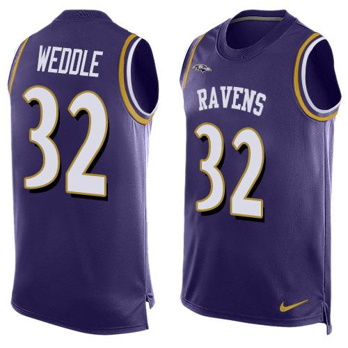 Nike Ravens #32 Eric Weddle Purple Team Color Men's Stitched NFL Limited Tank Top Jersey