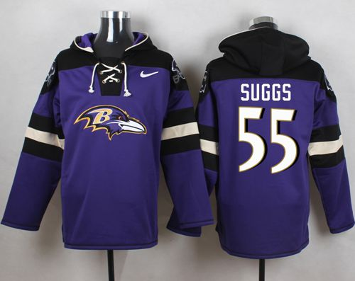 Nike Ravens #55 Terrell Suggs Purple Player Pullover NFL Hoodie