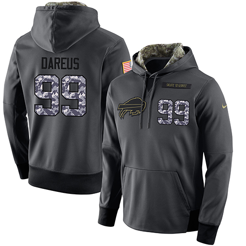 NFL Men's Nike Buffalo Bills #99 Marcell Dareus Stitched Black Anthracite Salute to Service Player Performance Hoodie
