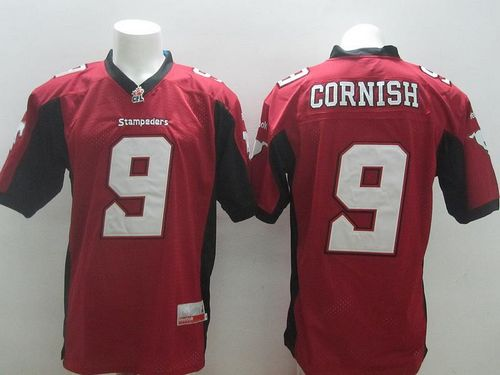 Stampeders #9 Jon Cornish Red Stitched CFL Jersey