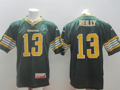 Eskimos #13 Mike Reilly Green Stitched CFL Jersey