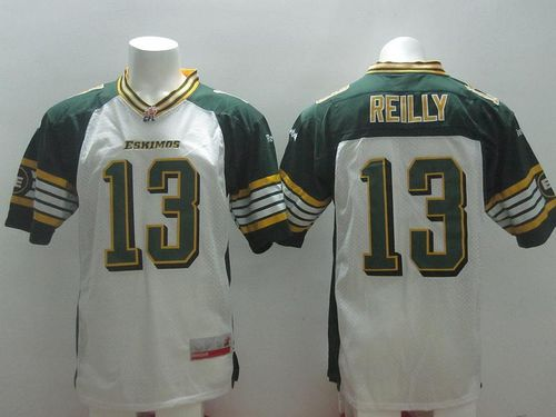 Eskimos #13 Mike Reilly White Stitched CFL Jersey